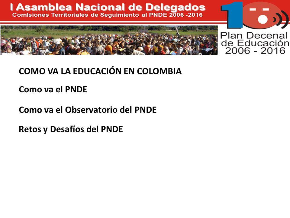 COMO VA LA EDUCACIÓN EN COLOMBIA Como va el PNDE Como va el Observatorio del PNDE Retos y Desafíos del PNDE