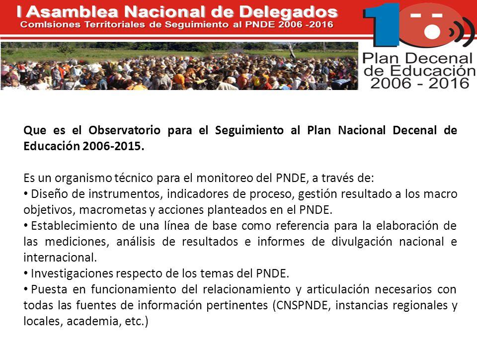 Que es el Observatorio para el Seguimiento al Plan Nacional Decenal de Educación 2006-2015.