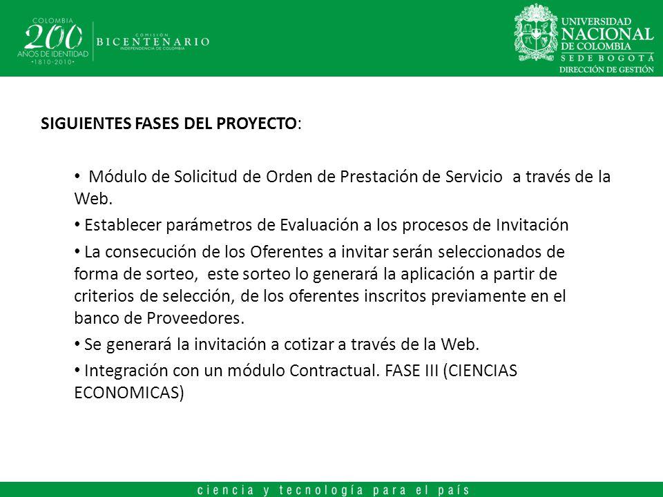 SIGUIENTES FASES DEL PROYECTO: Módulo de Solicitud de Orden de Prestación de Servicio a través de la Web. Establecer parámetros de Evaluación a los pr