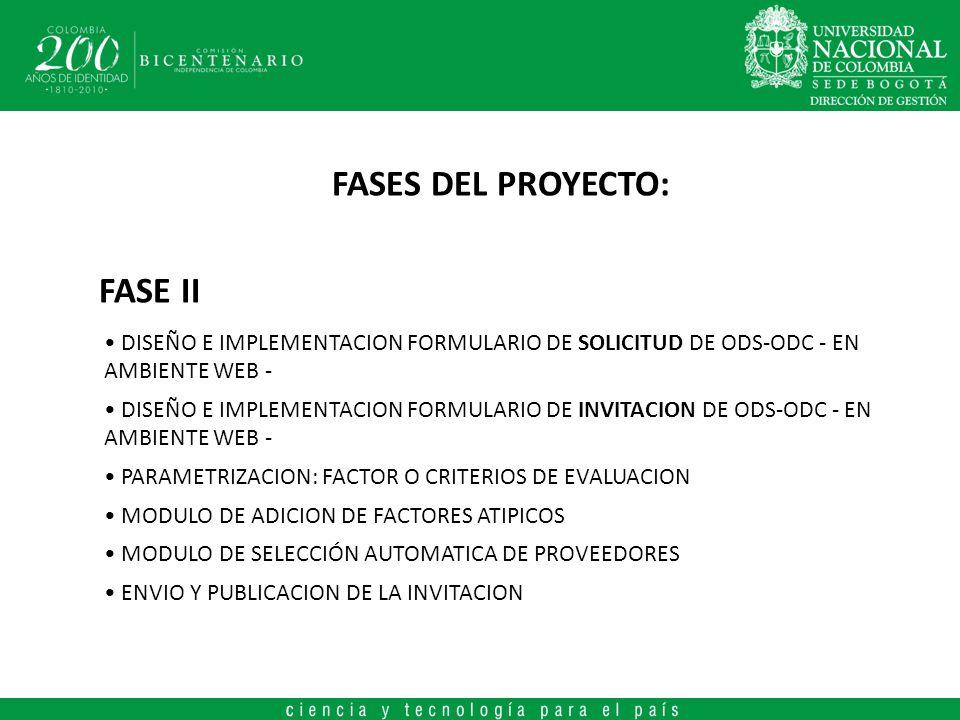 FASES DEL PROYECTO: FASE II DISEÑO E IMPLEMENTACION FORMULARIO DE SOLICITUD DE ODS-ODC - EN AMBIENTE WEB - DISEÑO E IMPLEMENTACION FORMULARIO DE INVITACION DE ODS-ODC - EN AMBIENTE WEB - PARAMETRIZACION: FACTOR O CRITERIOS DE EVALUACION MODULO DE ADICION DE FACTORES ATIPICOS MODULO DE SELECCIÓN AUTOMATICA DE PROVEEDORES ENVIO Y PUBLICACION DE LA INVITACION