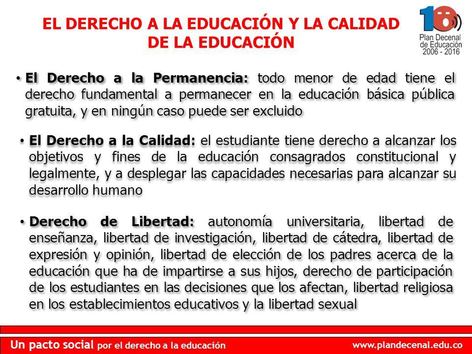 www.plandecenal.edu.co Un pacto social por el derecho a la educación El Derecho a la Permanencia: todo menor de edad tiene el derecho fundamental a pe