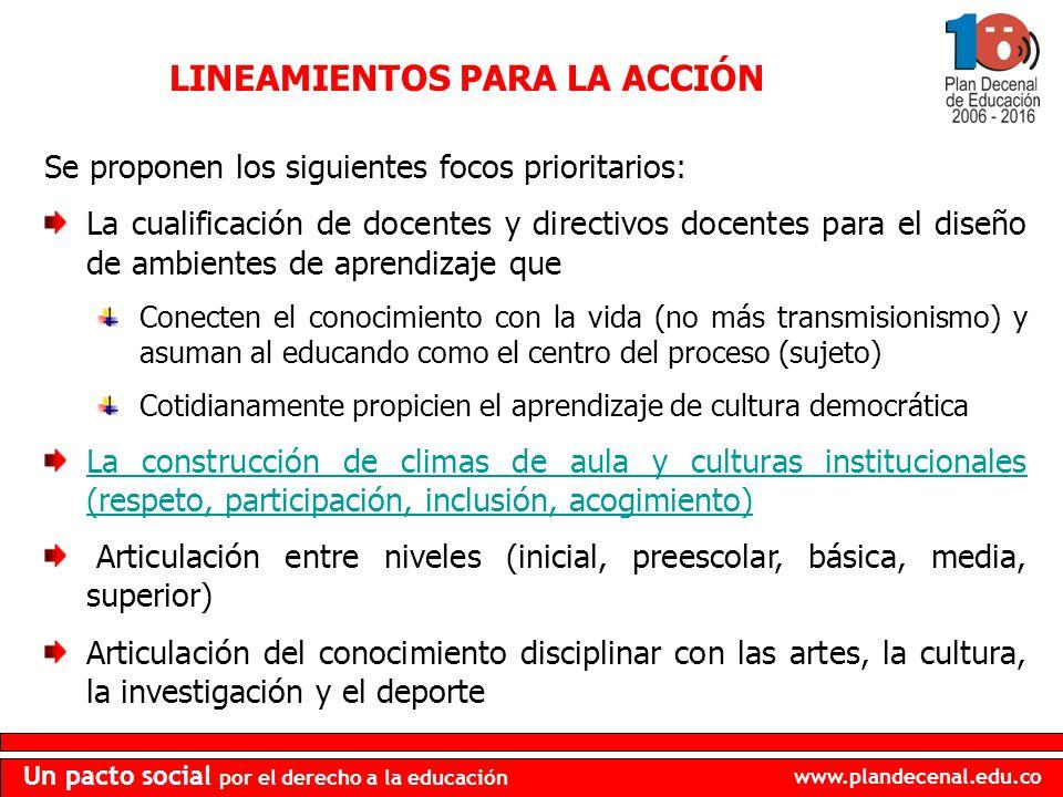 www.plandecenal.edu.co Un pacto social por el derecho a la educación LINEAMIENTOS PARA LA ACCIÓN Se proponen los siguientes focos prioritarios: La cua