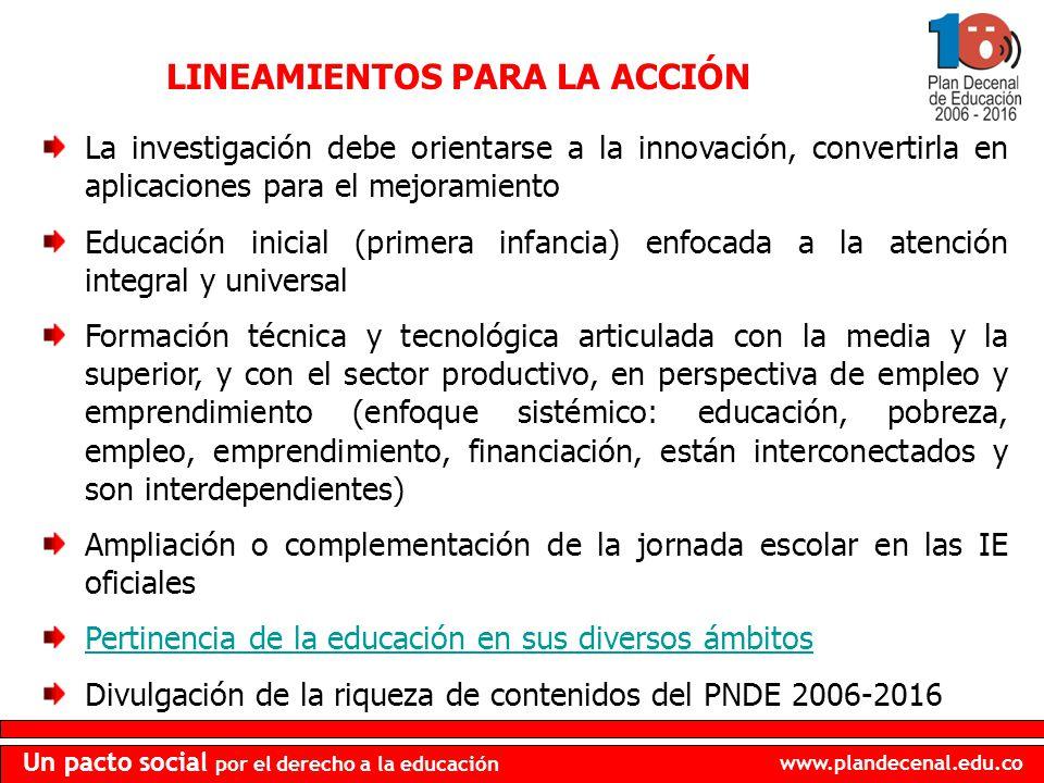 www.plandecenal.edu.co Un pacto social por el derecho a la educación LINEAMIENTOS PARA LA ACCIÓN La investigación debe orientarse a la innovación, con