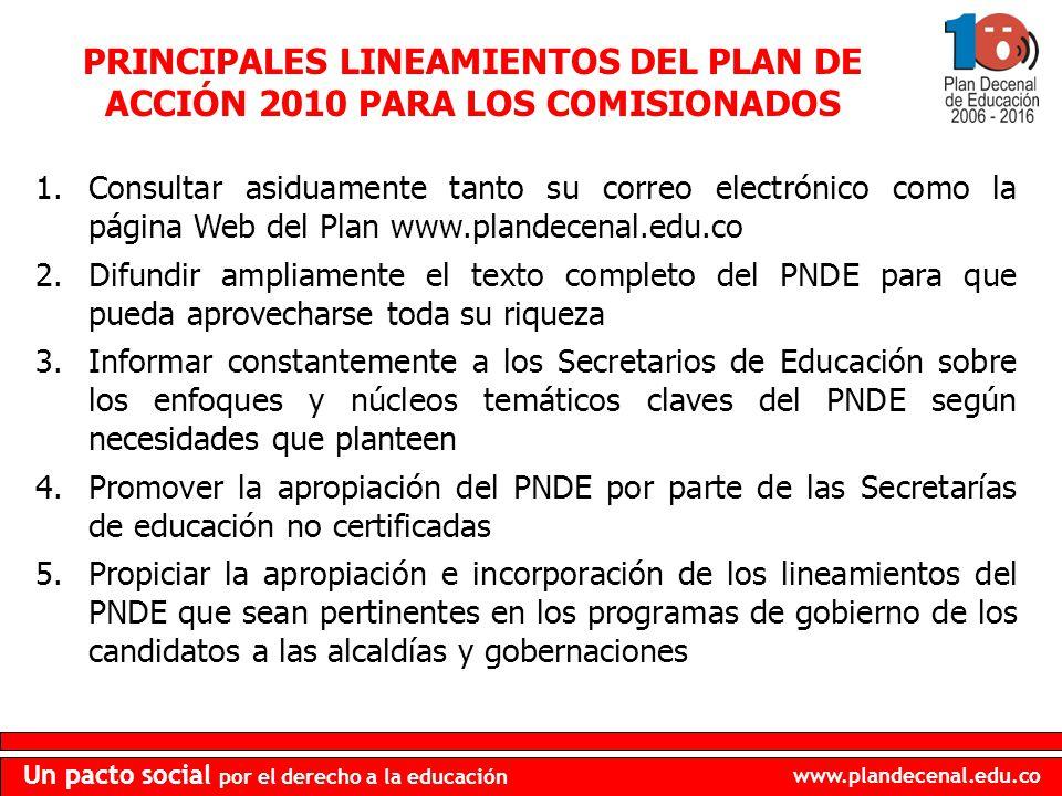 www.plandecenal.edu.co Un pacto social por el derecho a la educación PRINCIPALES LINEAMIENTOS DEL PLAN DE ACCIÓN 2010 PARA LOS COMISIONADOS 1.Consulta