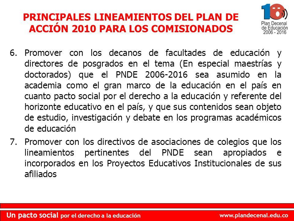 www.plandecenal.edu.co Un pacto social por el derecho a la educación PRINCIPALES LINEAMIENTOS DEL PLAN DE ACCIÓN 2010 PARA LOS COMISIONADOS 6.Promover