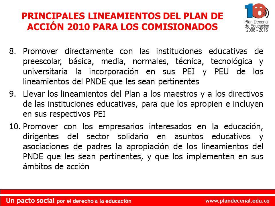 www.plandecenal.edu.co Un pacto social por el derecho a la educación PRINCIPALES LINEAMIENTOS DEL PLAN DE ACCIÓN 2010 PARA LOS COMISIONADOS 8.Promover