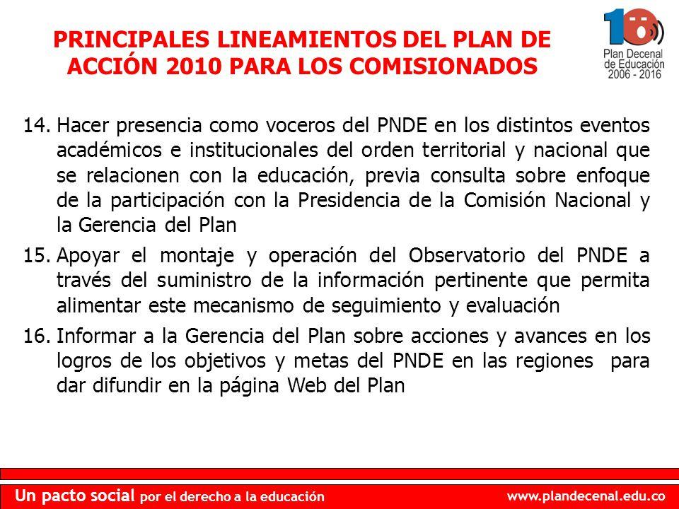 www.plandecenal.edu.co Un pacto social por el derecho a la educación PRINCIPALES LINEAMIENTOS DEL PLAN DE ACCIÓN 2010 PARA LOS COMISIONADOS 14.Hacer p
