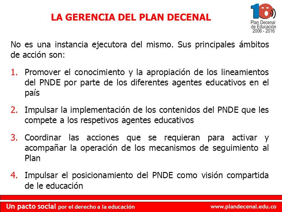 www.plandecenal.edu.co Un pacto social por el derecho a la educación No es una instancia ejecutora del mismo. Sus principales ámbitos de acción son: 1