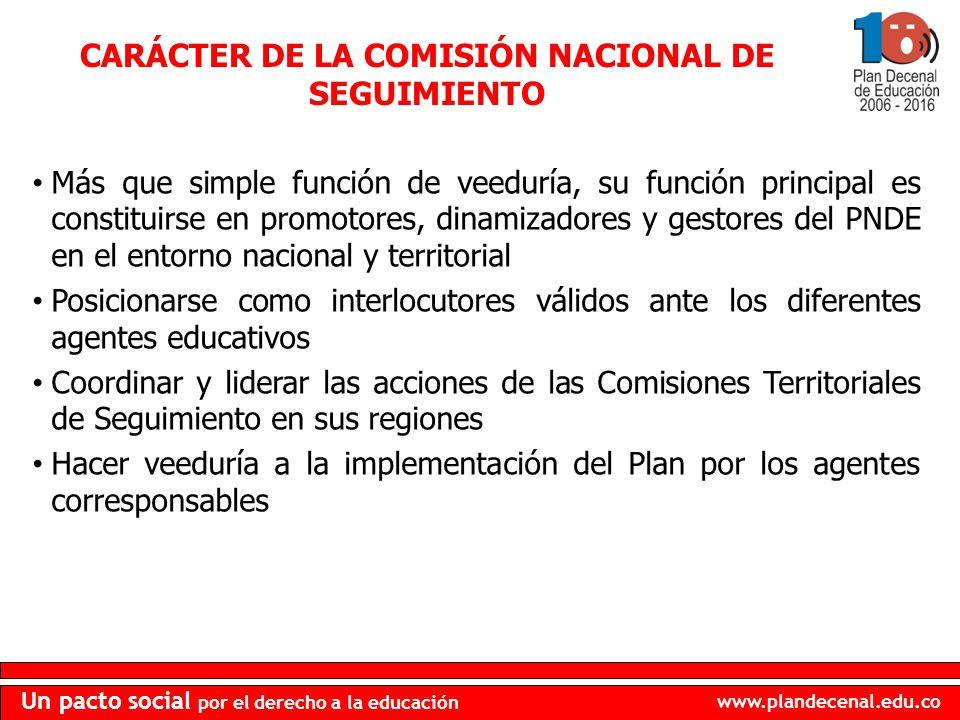 www.plandecenal.edu.co Un pacto social por el derecho a la educación CARÁCTER DE LA COMISIÓN NACIONAL DE SEGUIMIENTO Más que simple función de veedurí