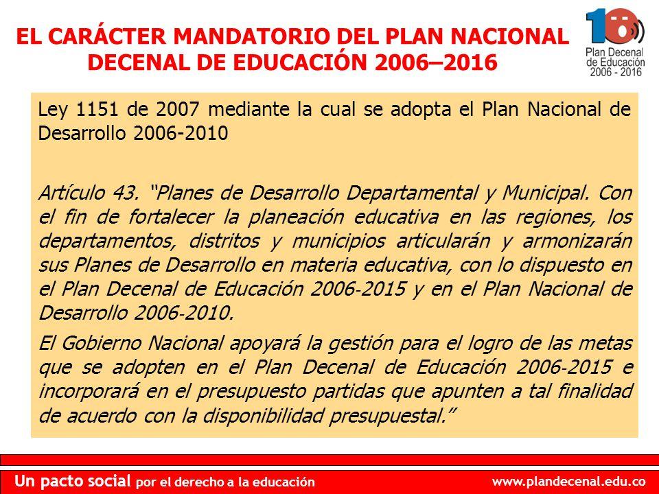 www.plandecenal.edu.co Un pacto social por el derecho a la educación Ley 1151 de 2007 mediante la cual se adopta el Plan Nacional de Desarrollo 2006-2