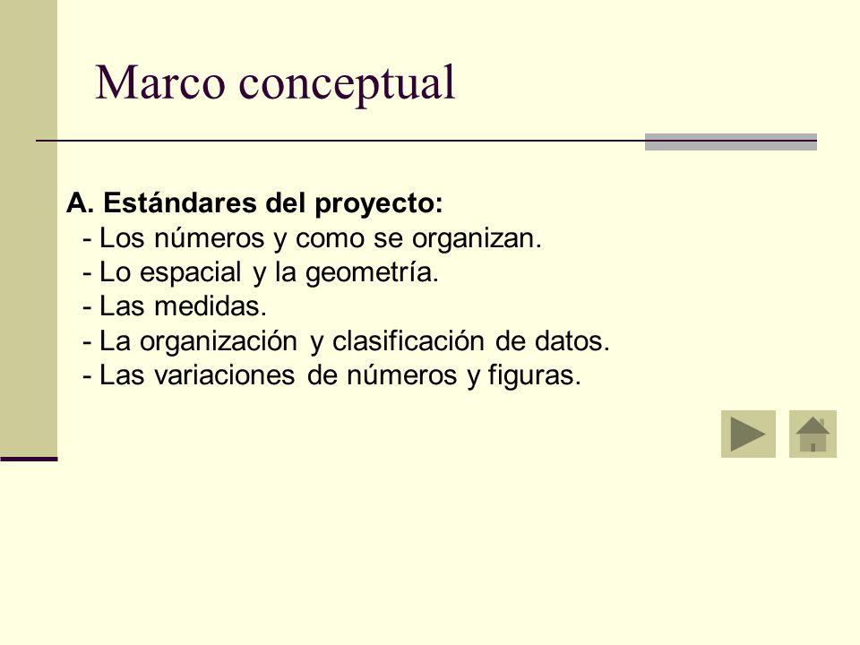 Marco conceptual A.Estándares del proyecto: - Los números y como se organizan.