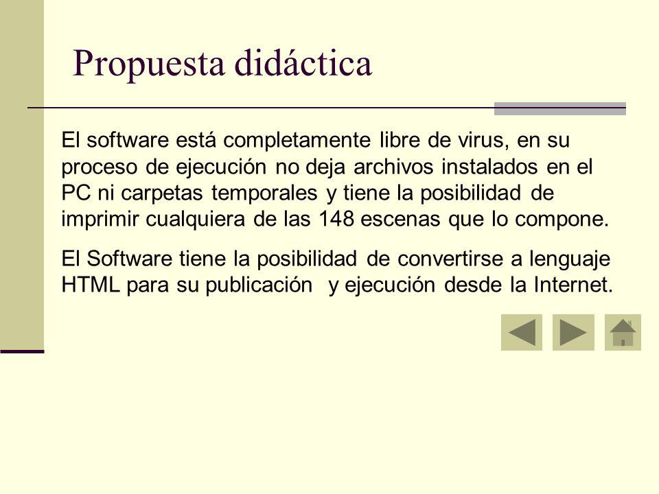 Propuesta didáctica El software está completamente libre de virus, en su proceso de ejecución no deja archivos instalados en el PC ni carpetas temporales y tiene la posibilidad de imprimir cualquiera de las 148 escenas que lo compone.