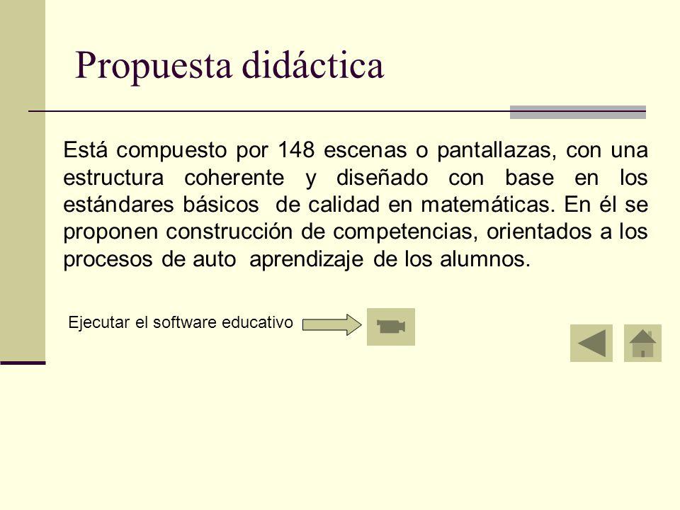 Propuesta didáctica Está compuesto por 148 escenas o pantallazas, con una estructura coherente y diseñado con base en los estándares básicos de calidad en matemáticas.