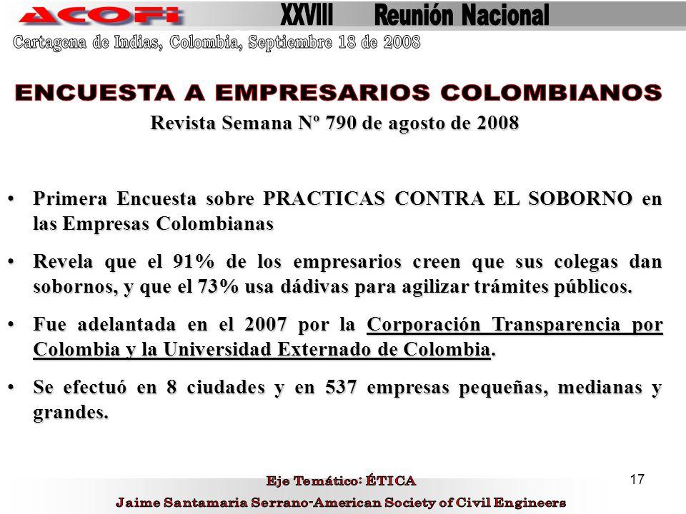 17 Revista Semana Nº 790 de agosto de 2008 Primera Encuesta sobre PRACTICAS CONTRA EL SOBORNO en las Empresas ColombianasPrimera Encuesta sobre PRACTI