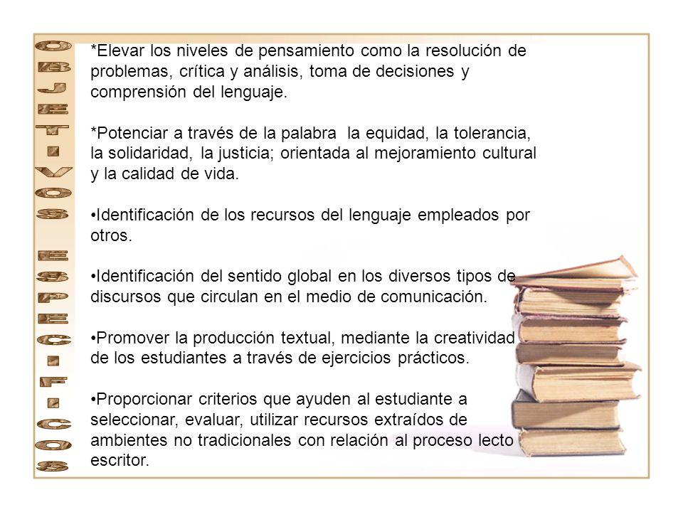El área de Lengua Castellana utilizará los medios y recursos institucionales y del contexto, así como las herramientas que posibilitan la cultura.