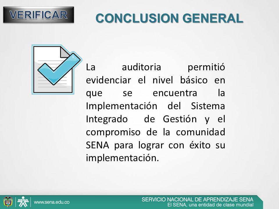CONCLUSION GENERAL La auditoria permitió evidenciar el nivel básico en que se encuentra la Implementación del Sistema Integrado de Gestión y el compro