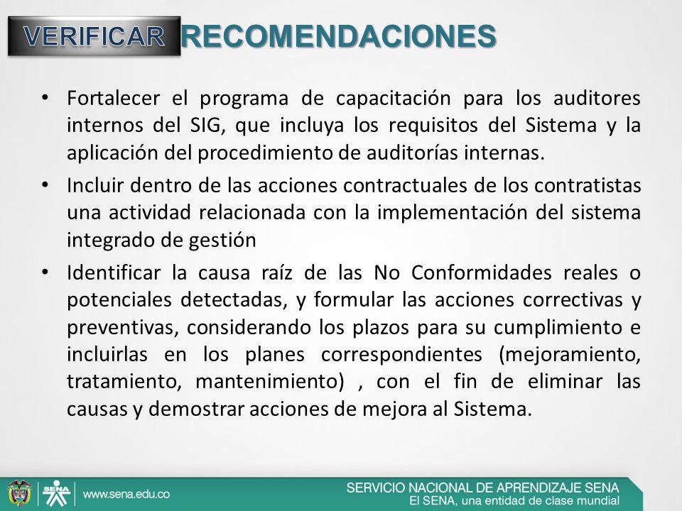 RECOMENDACIONES Fortalecer el programa de capacitación para los auditores internos del SIG, que incluya los requisitos del Sistema y la aplicación del