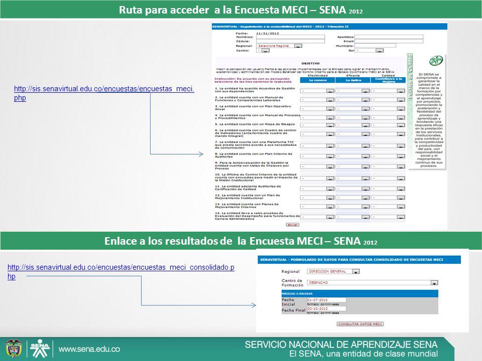 Ruta para acceder a la Encuesta MECI – SENA 2012 Enlace a los resultados de la Encuesta MECI – SENA 2012 http://sis.senavirtual.edu.co/encuestas/encue