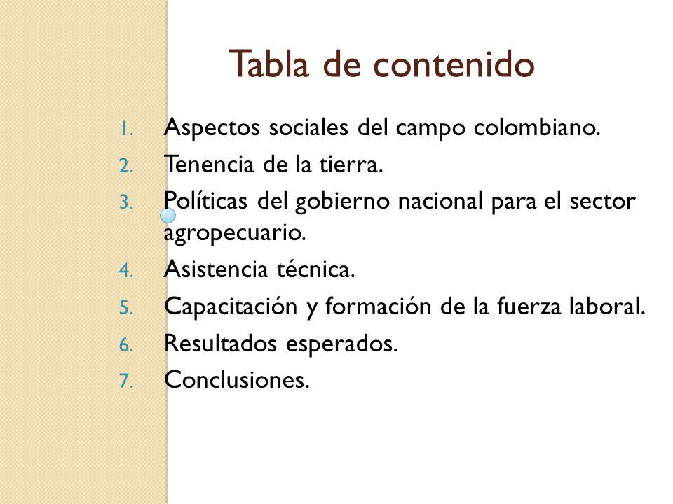 Tabla de contenido 1. Aspectos sociales del campo colombiano. 2. Tenencia de la tierra. 3. Políticas del gobierno nacional para el sector agropecuario