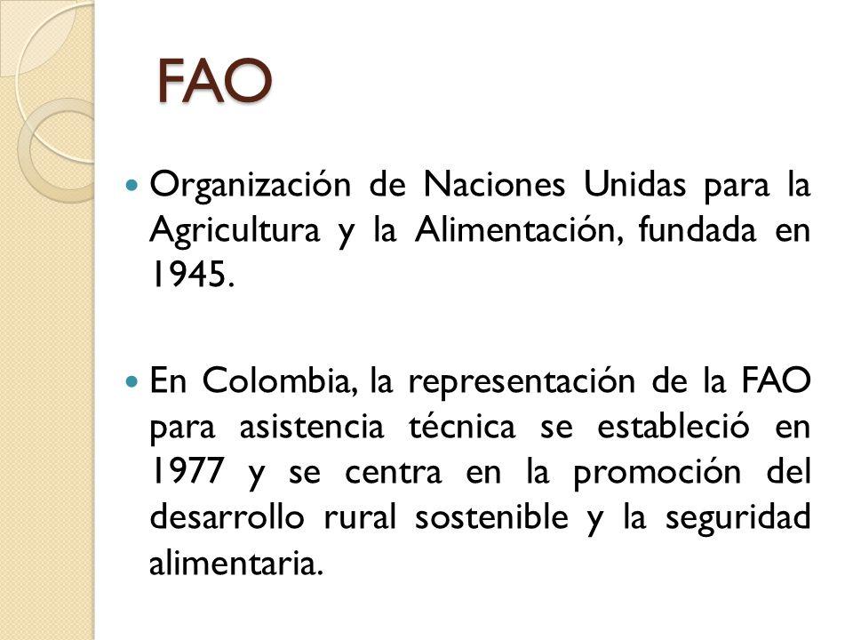 FAO Organización de Naciones Unidas para la Agricultura y la Alimentación, fundada en 1945. En Colombia, la representación de la FAO para asistencia t