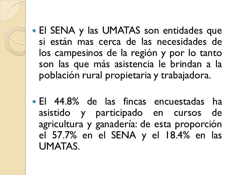 El SENA y las UMATAS son entidades que si están mas cerca de las necesidades de los campesinos de la región y por lo tanto son las que más asistencia