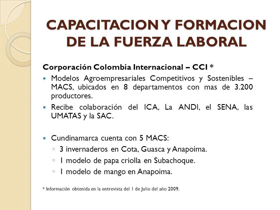 Corporación Colombia Internacional – CCI * Modelos Agroempresariales Competitivos y Sostenibles – MACS, ubicados en 8 departamentos con mas de 3.200 p