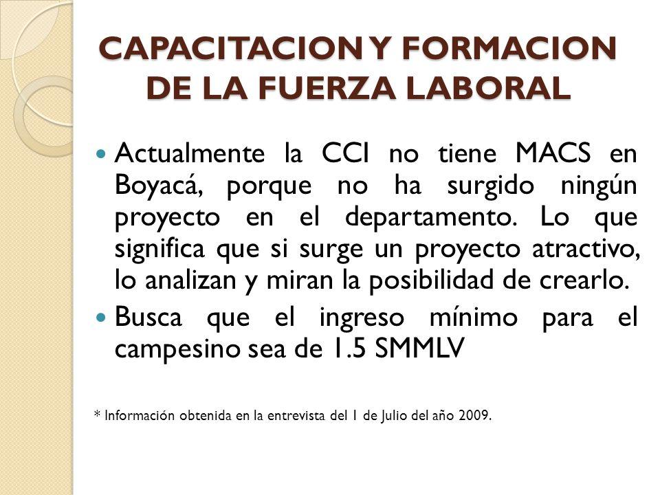 Actualmente la CCI no tiene MACS en Boyacá, porque no ha surgido ningún proyecto en el departamento. Lo que significa que si surge un proyecto atracti