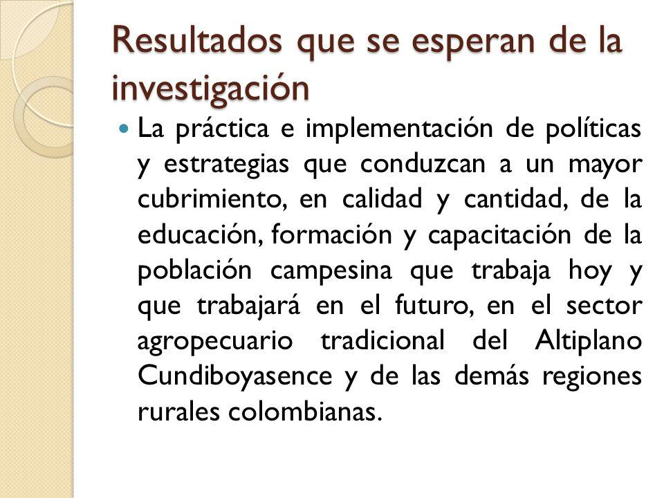 Resultados que se esperan de la investigación La práctica e implementación de políticas y estrategias que conduzcan a un mayor cubrimiento, en calidad