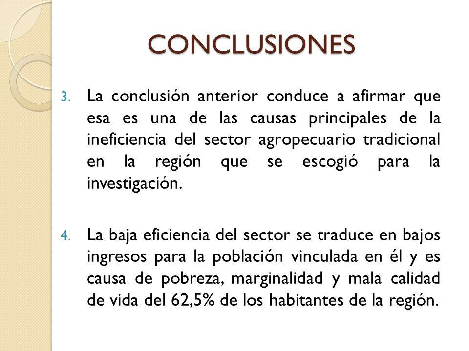 3. La conclusión anterior conduce a afirmar que esa es una de las causas principales de la ineficiencia del sector agropecuario tradicional en la regi