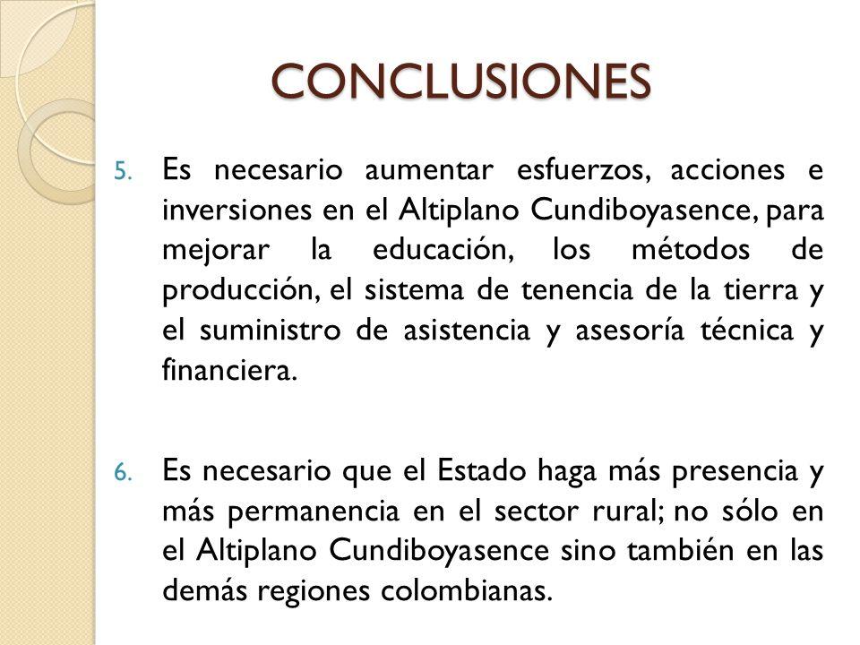 5. Es necesario aumentar esfuerzos, acciones e inversiones en el Altiplano Cundiboyasence, para mejorar la educación, los métodos de producción, el si
