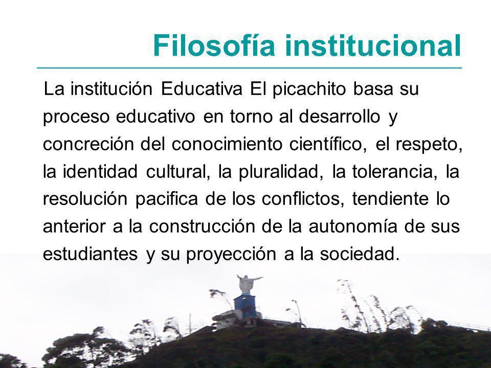 La institución Educativa El picachito basa su proceso educativo en torno al desarrollo y concreción del conocimiento científico, el respeto, la identi
