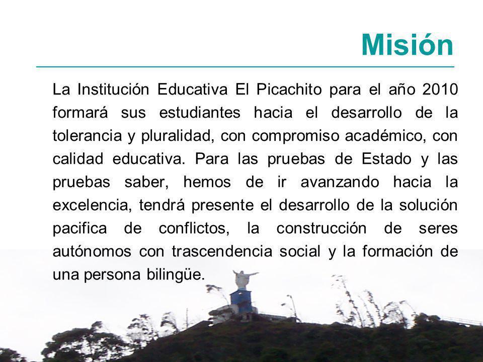 La Institución Educativa El Picachito para el año 2010 formará sus estudiantes hacia el desarrollo de la tolerancia y pluralidad, con compromiso académico, con calidad educativa.