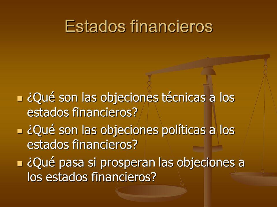 Estados financieros ¿Qué son las objeciones técnicas a los estados financieros? ¿Qué son las objeciones técnicas a los estados financieros? ¿Qué son l