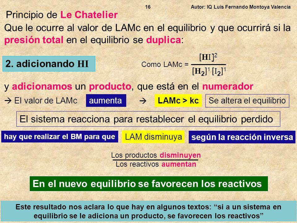 Autor: IQ Luis Fernando Montoya Valencia16 Principio de Le Chatelier Que le ocurre al valor de LAMc en el equilibrio y que ocurrirá si la presión tota