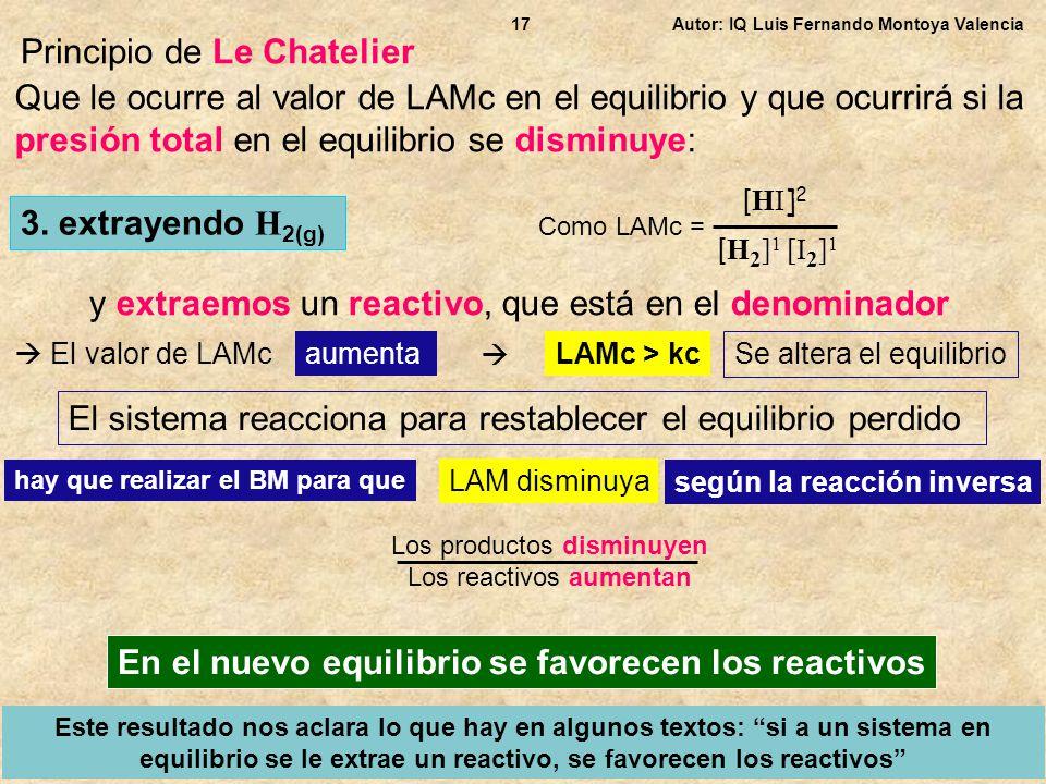 Autor: IQ Luis Fernando Montoya Valencia17 Principio de Le Chatelier Que le ocurre al valor de LAMc en el equilibrio y que ocurrirá si la presión tota