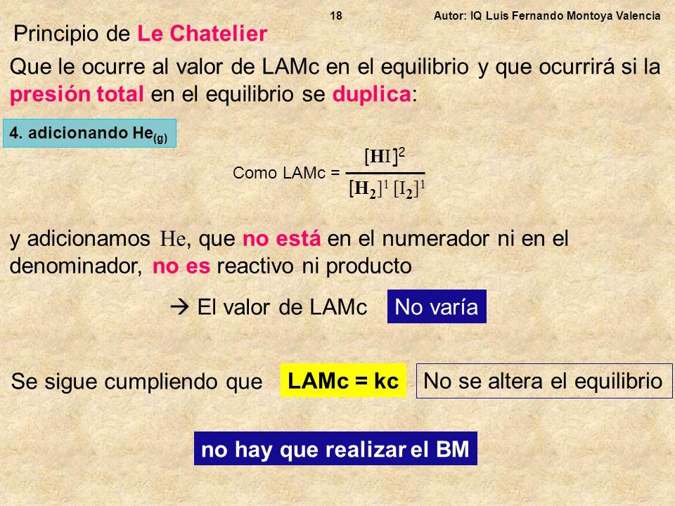 Autor: IQ Luis Fernando Montoya Valencia18 Principio de Le Chatelier Que le ocurre al valor de LAMc en el equilibrio y que ocurrirá si la presión tota