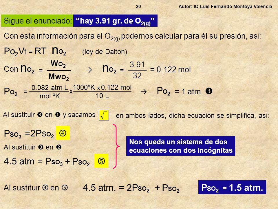 Sigue el enunciado: hay 3.91 gr. de O 2(g) Autor: IQ Luis Fernando Montoya Valencia20 Con esta información para el O 2(g) podemos calcular para él su