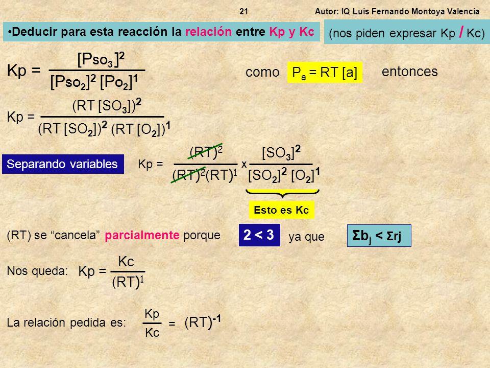 Autor: IQ Luis Fernando Montoya Valencia21 Kp = Deducir para esta reacción la relación entre Kp y Kc como P a = RT [a] entonces Kp = (RT ) 2 X Separan