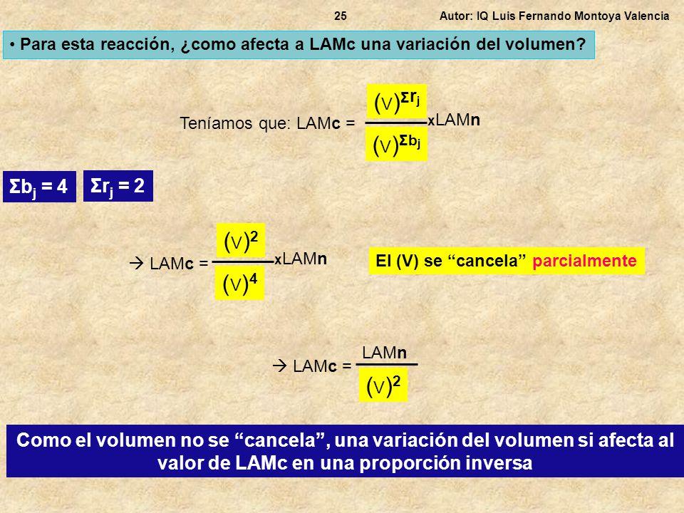 Autor: IQ Luis Fernando Montoya Valencia25 Para esta reacción, ¿como afecta a LAMc una variación del volumen? Teníamos que: LAMc = (V)Σrj(V)Σrj (V)Σbj