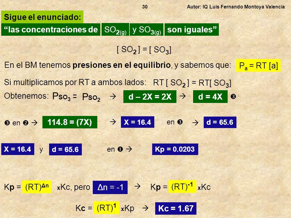Autor: IQ Luis Fernando Montoya Valencia30 las concentraciones de Sigue el enunciado: SO 2 (g) y SO 3 (g) son iguales En el BM tenemos presiones en el