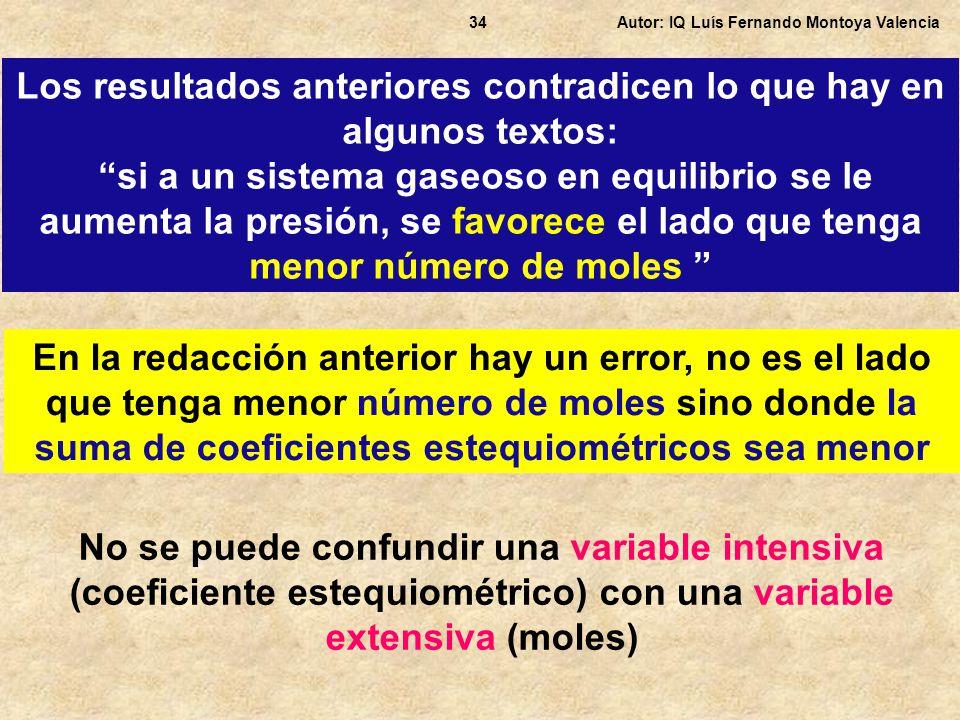 Autor: IQ Luís Fernando Montoya Valencia34 Los resultados anteriores contradicen lo que hay en algunos textos: si a un sistema gaseoso en equilibrio s