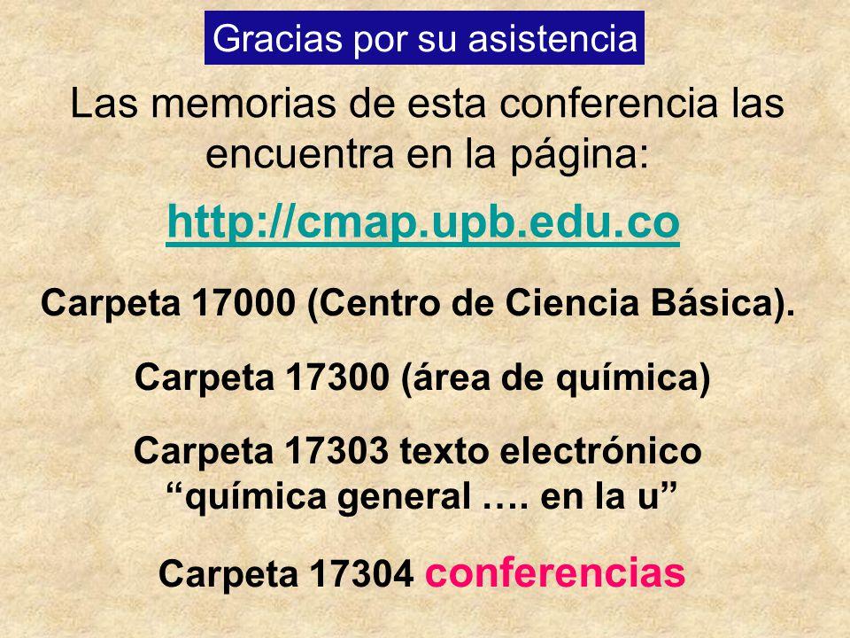 Gracias por su asistencia Las memorias de esta conferencia las encuentra en la página: http://cmap.upb.edu.co Carpeta 17000 (Centro de Ciencia Básica)