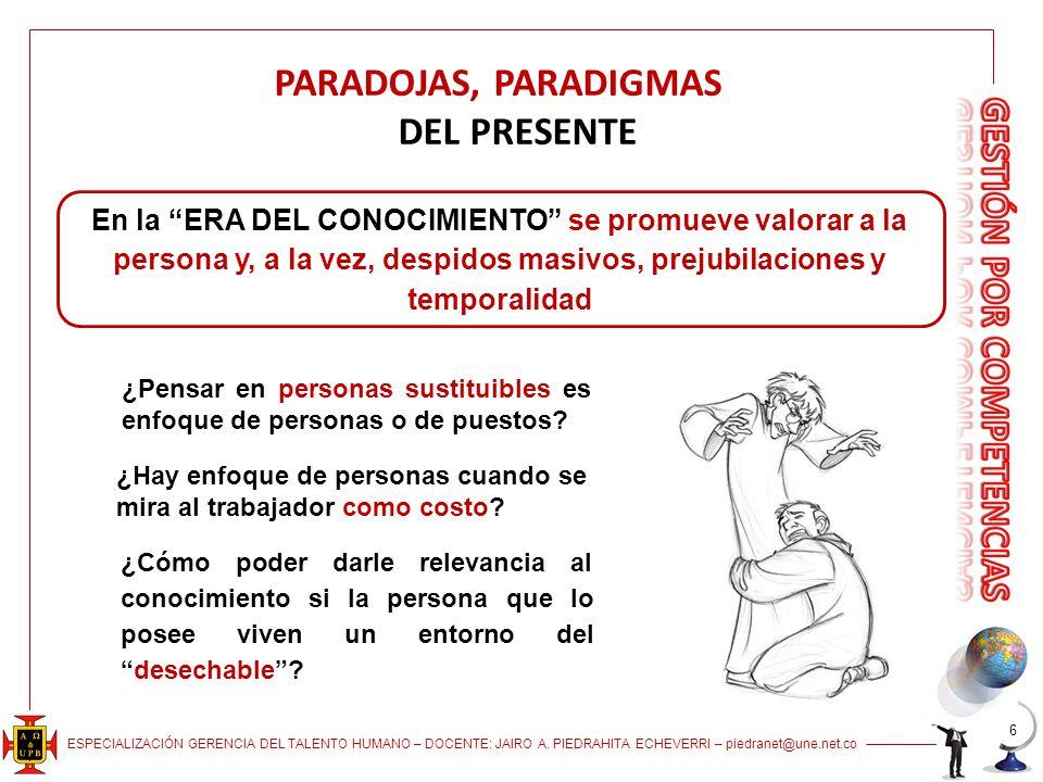 ESPECIALIZACIÓN GERENCIA DEL TALENTO HUMANO – DOCENTE: JAIRO A. PIEDRAHITA ECHEVERRI – piedranet@une.net.co PARADOJAS, PARADIGMAS DEL PRESENTE En la E