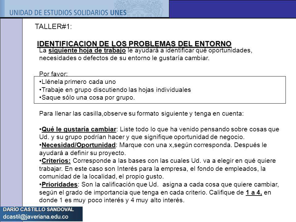DARÍO CASTILLO SANDOVAL dcastil@javeriana.edu.co TALLER#1: IDENTIFICACION DE LOS PROBLEMAS DEL ENTORNO siguiente hoja de trabajo La siguiente hoja de
