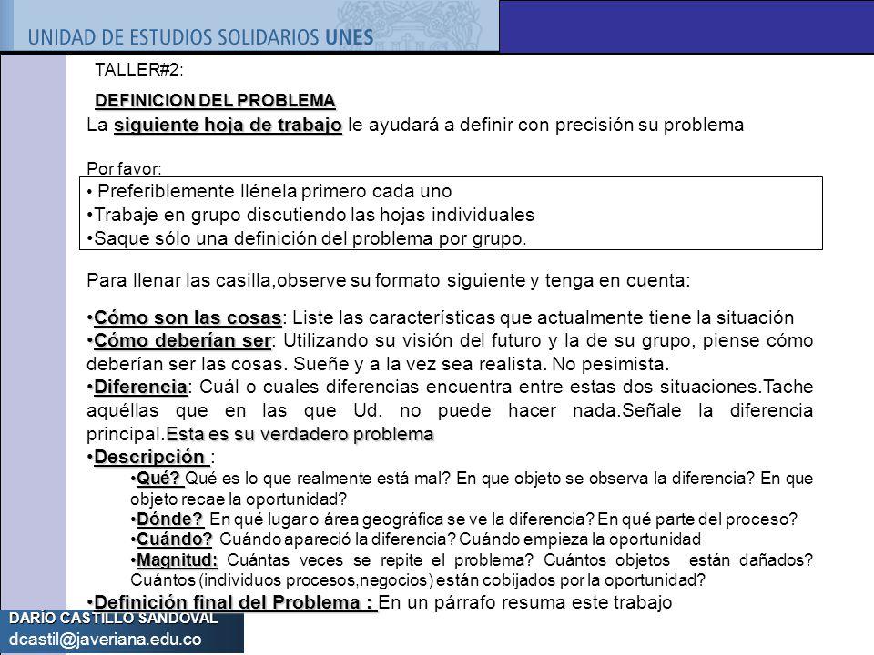 DARÍO CASTILLO SANDOVAL dcastil@javeriana.edu.co siguiente hoja de trabajo La siguiente hoja de trabajo le ayudará a definir con precisión su problema
