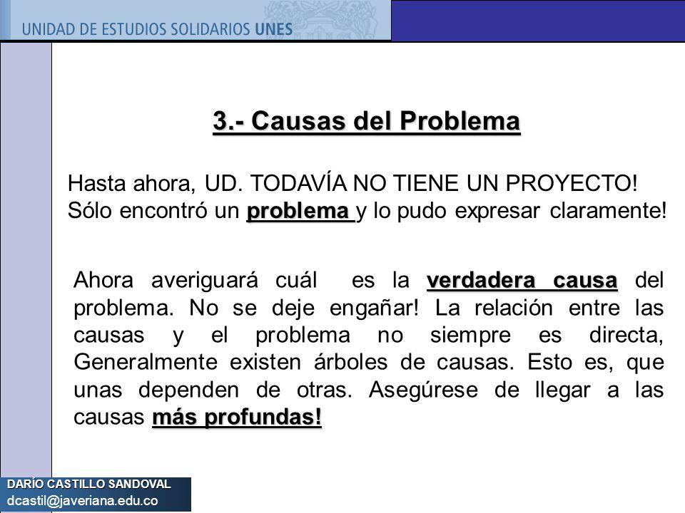 DARÍO CASTILLO SANDOVAL dcastil@javeriana.edu.co 3.- Causas del Problema problema Hasta ahora, UD. TODAVÍA NO TIENE UN PROYECTO! Sólo encontró un prob