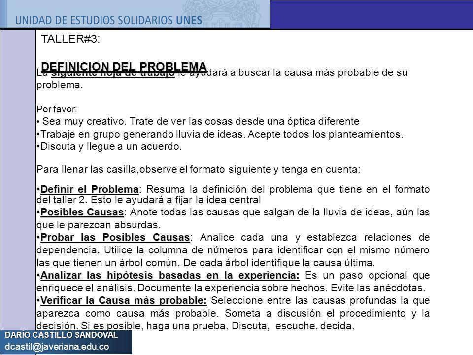 DARÍO CASTILLO SANDOVAL dcastil@javeriana.edu.co siguiente hoja de trabajo La siguiente hoja de trabajo le ayudará a buscar la causa más probable de s