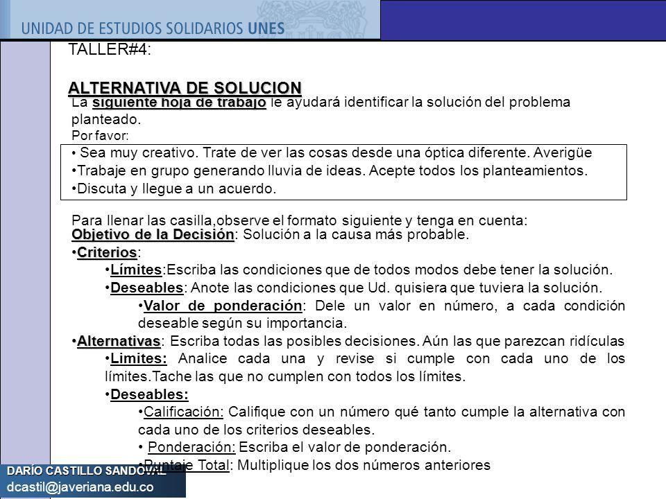 DARÍO CASTILLO SANDOVAL dcastil@javeriana.edu.co siguiente hoja de trabajo La siguiente hoja de trabajo le ayudará identificar la solución del problem