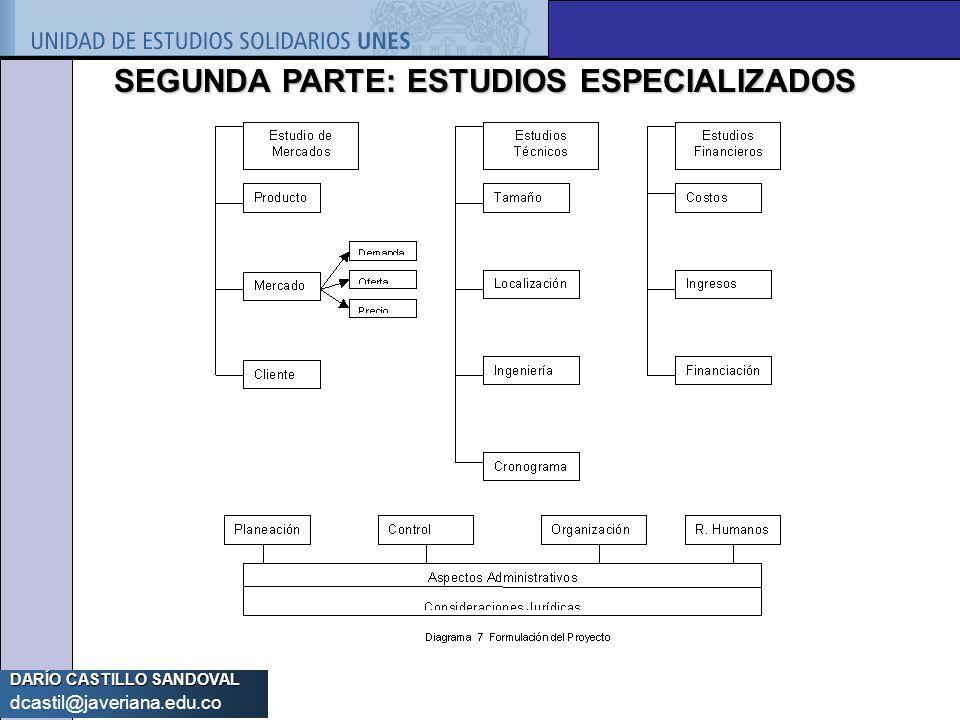 DARÍO CASTILLO SANDOVAL dcastil@javeriana.edu.co SEGUNDA PARTE: ESTUDIOS ESPECIALIZADOS