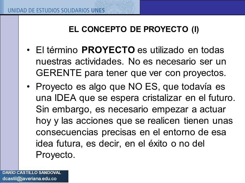DARÍO CASTILLO SANDOVAL dcastil@javeriana.edu.co EL CONCEPTO DE PROYECTO (I) El término PROYECTO es utilizado en todas nuestras actividades. No es nec